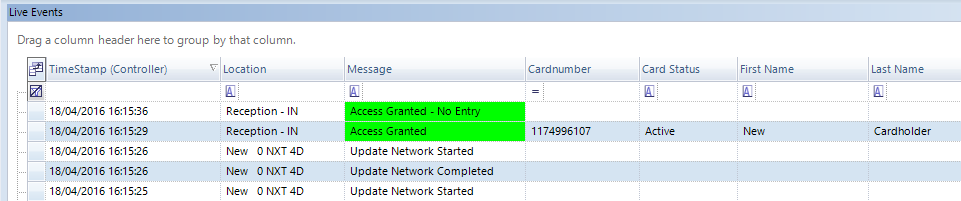 Cardholder Access Granted Message