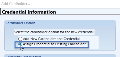 Assign to Existing Cardholder